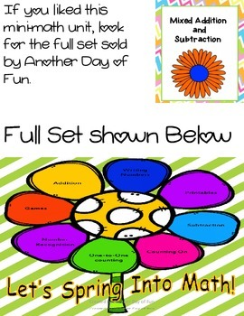 Spring Into Math- assorted subtraction and addition activities mini unit