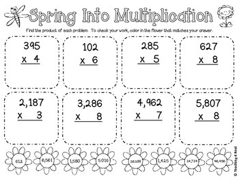 FREE Spring Into Multiplication 4th & 5th Grade