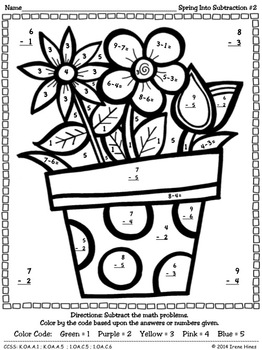 Subtraction: Spring Into Subtraction ~ Color By The Code Math Puzzle Printables