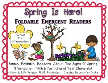 Spring Is Here!  Foldable Readers PLUS Printable!  3 Versions PLUS B&W