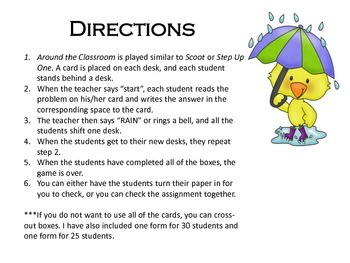 Spring It's Raining Missing Addends Around the Classroom (Scoot) for First Grade