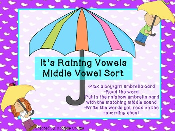 Spring It's Raining Vowels Middle Vowel Sort-Differentiated