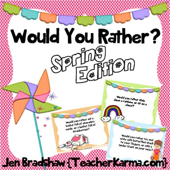 Spring Journal Writing Prompts ~ WOULD YOU RATHER? ~ Easter