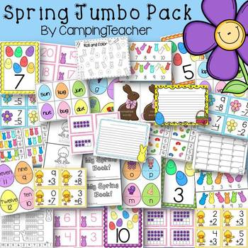 Spring and Easter Jumbo Pack Math and Language Arts Centers and Activities