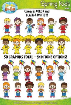 Spring Kid Characters Clipart {Zip-A-Dee-Doo-Dah Designs}