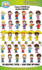 Spring Kid Characters Clipart Set — Includes 50 Graphics!