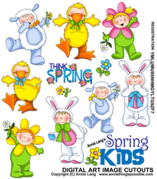 Spring Kids Character Clipart
