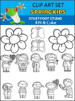 Spring Clip Art - Kids, Flowers, Butterflies