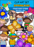 Spring Clip Art - Kids, Flowers, Butterflies