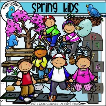 Spring Kids Clip Art Set - Chirp Graphics