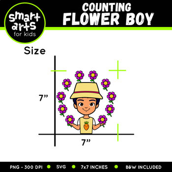 Spring Counting Flowers Boy Clip Art
