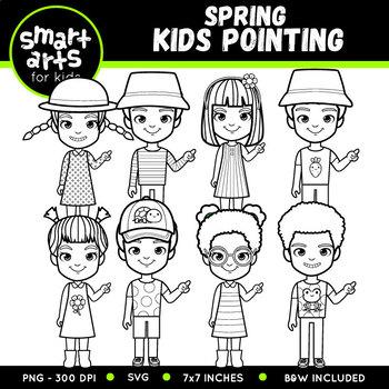 Spring Kids Pointing Clip Art