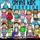 Spring Kids Standing Clip Art Set - Chirp Graphics