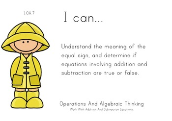 Spring Kids Theme 1st grade math Common Core Posters first