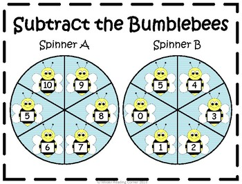 Addition and Subtraction Math Center- Spin the Bumblebees