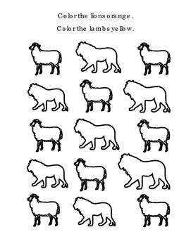 Spring Kindergarten Math Classifying Lions Lambs Orange Yellow Coloring Print