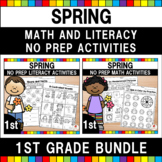 Spring Math & Literacy Worksheets (1st Grade Bundle)