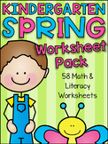 Spring Kindergarten Math and Literacy Worksheet Pack