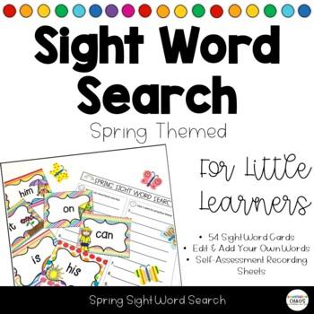 Spring Kindergarten Sight Word Search - Literacy Sensory Table or Bin