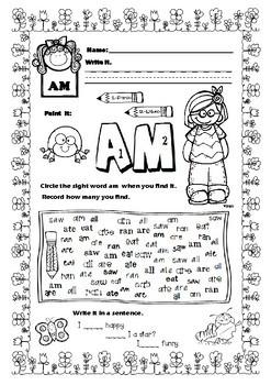 Kindergarten Sight Words Activities FREEBIE Spring Themed