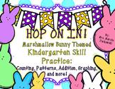 Spring Kindergarten Skill Practice Marshmallow Bunny Themed Math and Language