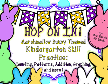 Spring Kindergarten Skill Practice Marshmallow Bunny Themed Math and Language