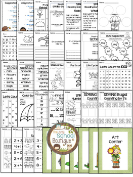 Spring Kindergarten Thematic Literacy and Math Centers