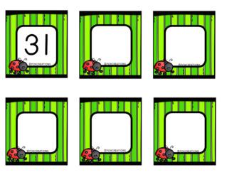 Spring Ladybug Calendar Numbers