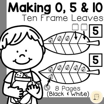 Spring Ladybug and Ten Frame Leaf Game Set (0, 5, and 10) - Free - Black & White