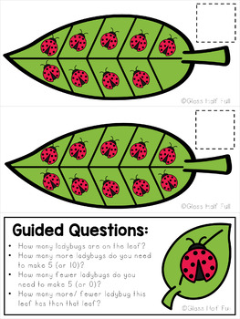 Spring Ladybug and Ten Frame Leaf Game Set (0, 5, and 10) - Free - Colored