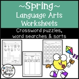 Spring Language Arts Crossword Puzzles, Word Searches, and Word Sorts