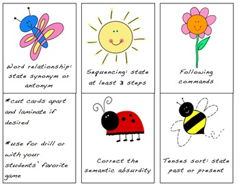 Spring Language Card Set for Speech or Classroom