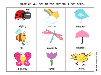 Spring Language Fun: vocabulary, pronouns, spatial concepts, and verbs