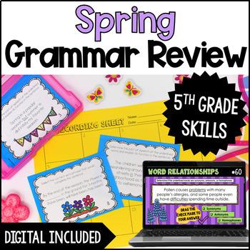 Spring Language Task Cards {5th Grade}