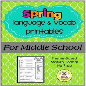 Spring Language & Vocabulary Printables for Middle School Speech Therapy Bundle