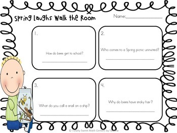 Spring Laughs- A Math Review and Spring Joke Walk the Room Gr.2