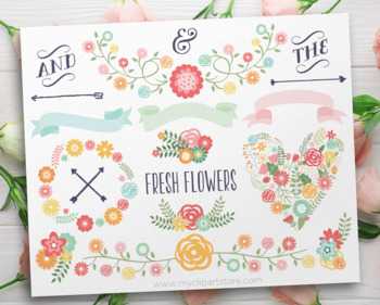 Spring Laurels, Flower Wreaths, Ribbons, Floral Collection, SVG
