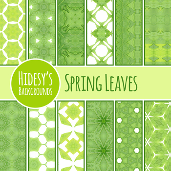 Spring Leaves Backgrounds / Digital paper / Textures Clip Art Commercial Use