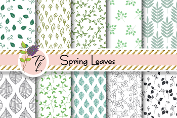 Spring Leaves Seamless Pattern Set. Digital paper pack.