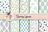 Spring Leaves Seamless Pattern Set. Digital paper pack.