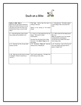 Spring Lesson Plan:  Duck on a Bike Comprehension Strategies