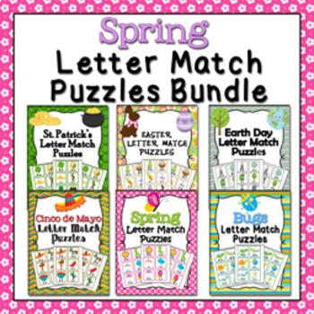 Spring Letter Match Puzzles Bundle