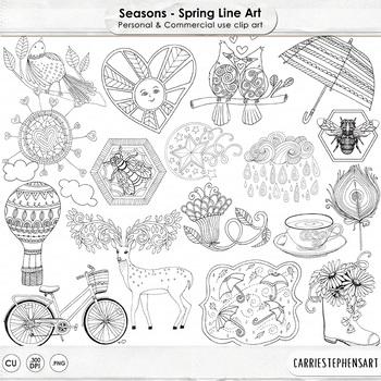 Spring Line Art Illustrations, Seasonal Doodles, Hand Draw