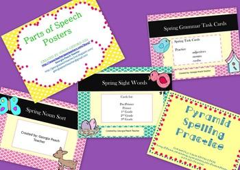 Spring Literacy Bundle- Sight Words, Spelling, Vocabulary, Task Cards