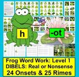 Frog Word Work: Phonics Fun Set 1 - Onset Rime DIBELS Real or Nonsense!