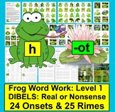 Frog Word Work: Phonics Fun Set 1 - Onset Rime DIBELS Real or Nonsense!