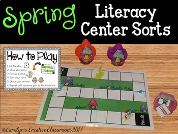 Spring Literacy Center Game with 10 Sorts!