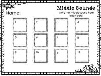 Spring Literacy Center - Middle Sound Clip Cards