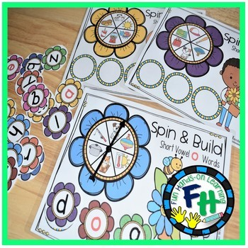 Spring Literacy Center - Spin & Build CVC Words {Kinder & First Grade}
