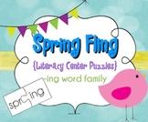 Spring Literacy Center - Word Blending Pack for the -ing Word Family